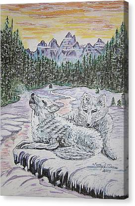 White Wolves Canvas Print by Kathy Marrs Chandler