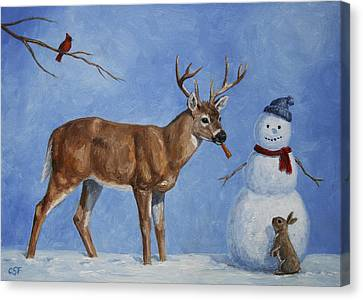 Whitetail Deer And Snowman - Whose Carrot? Canvas Print by Crista Forest