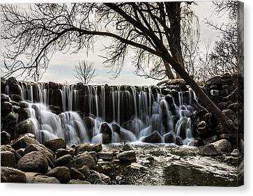 Whitnall Waterfall In Spring Canvas Print by Randy Scherkenbach