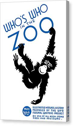 Whos Who In The Zoo Canvas Print by War Is Hell Store