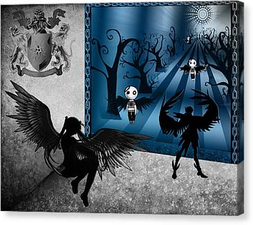 Male Angel Canvas Print featuring the digital art Why So Blue by Teri Schuster
