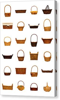 Wicker Basket Collection Canvas Print by Olivier Le Queinec