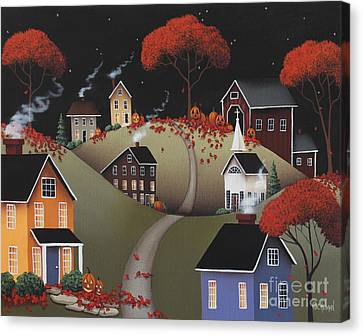 Wickford Village Halloween Ll Canvas Print by Catherine Holman