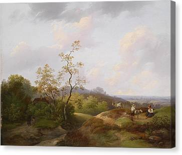 Wide Landscape With Shepherds Canvas Print by Ignaz Raffalt