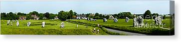 Wide Panorama Of Stone Circle Avebury Circle  Wiltshire Uk  Canvas Print by Peter Noyce