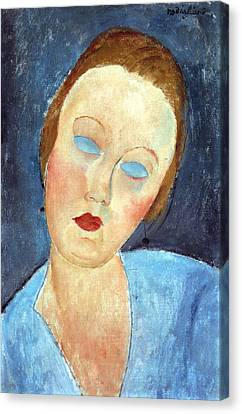 Wife Of The Painter Survage Canvas Print by Amedeo Modigliani