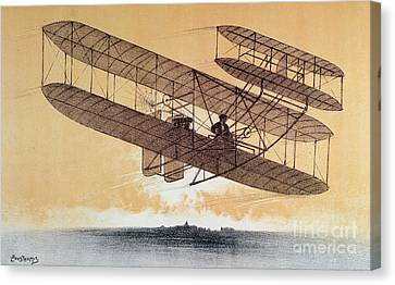 Wilbur Wright In His Flyer Canvas Print by Leon Pousthomis