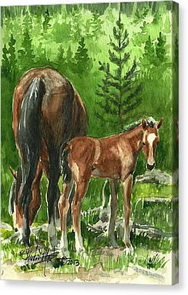 Wild Alberta Mare And Foal Canvas Print by Linda L Martin