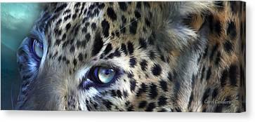 Wild Eyes - Leopard Moon Canvas Print by Carol Cavalaris