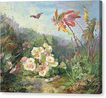 Wild Flowers And Butterfly Canvas Print by Jean Marie Reignier