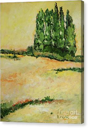 Wild Flowers And Poplar Stand Canvas Print by Barbara Moak