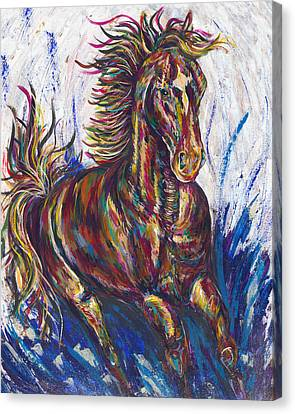 Wild Mustang Canvas Print by Lovejoy Creations