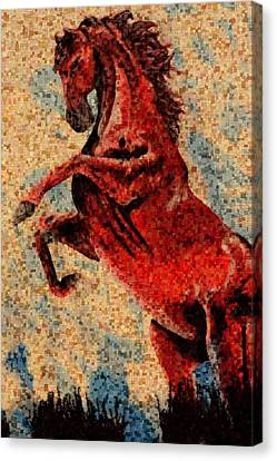 Wild Red Horse Canvas Print by Toppart Sweden