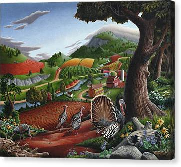 Wild Turkeys Appalachian Thanksgiving Landscape - Childhood Memories - Country Life - Americana Canvas Print by Walt Curlee