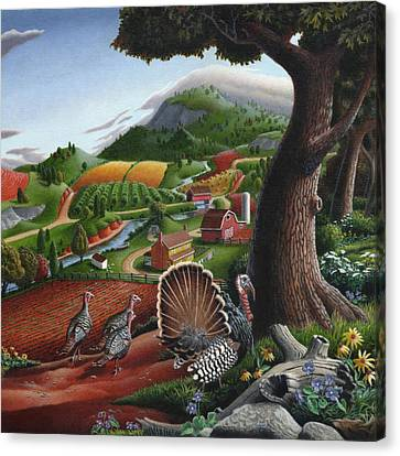 Wild Turkeys In The Hills Country Landscape - Square Format Canvas Print by Walt Curlee