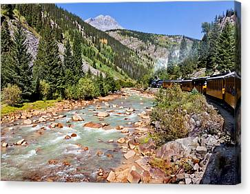 Wild West Train Ride Along The Animas River From Durango To Silverton Colorado Canvas Print by Karen Stephenson