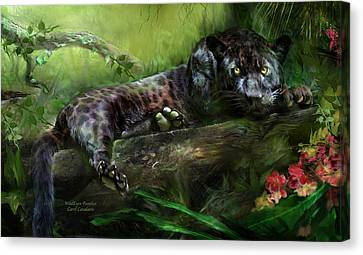 Wildeyes - Panther Canvas Print by Carol Cavalaris