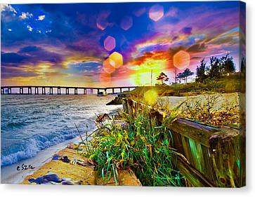 Wildflowers Landscape - Golden Rod Flowers Sunset Canvas Print by Eszra Tanner