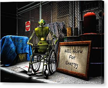 Will Work For Energy Canvas Print by Bob Orsillo
