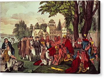 William Penn's Treaty With The Indians Canvas Print by Currier and Ives