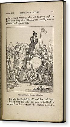 William Rallies The Normans At Hastings Canvas Print by British Library