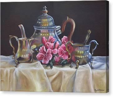 Williamsburg Stieff Tea Set Canvas Print by Phyllis Beiser