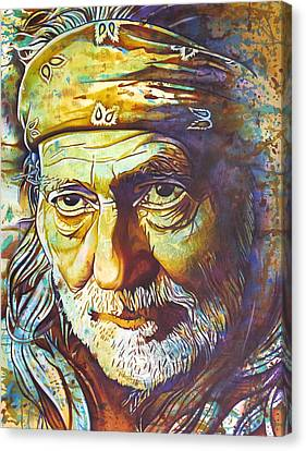 Willie Nelson-funny How Time Slips Away Canvas Print by Joshua Morton