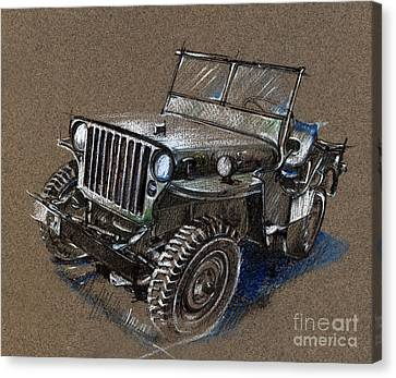 Willys Car Drawing Canvas Print by Daliana Pacuraru