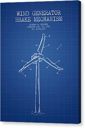 Wind Generator Break Mechanism Patent From 1990 - Blueprint Canvas Print by Aged Pixel