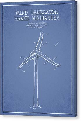 Wind Generator Break Mechanism Patent From 1990 - Light Blue Canvas Print by Aged Pixel