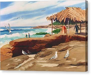 Wind 'n Sea Beach La Jolla California Canvas Print by Mary Helmreich