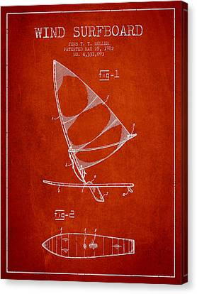 Wind Surfboard Patent Drawing From 1982 - Red Canvas Print by Aged Pixel