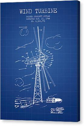Wind Turbine Patent From 1944 - Blueprint Canvas Print by Aged Pixel