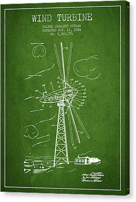 Wind Turbine Patent From 1944 - Green Canvas Print by Aged Pixel