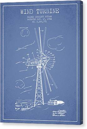 Wind Turbine Patent From 1944 - Light Blue Canvas Print by Aged Pixel
