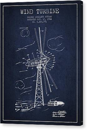 Wind Turbine Patent From 1944 - Navy Blue Canvas Print by Aged Pixel