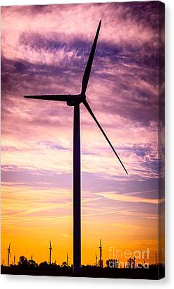 Wind Turbine Picture On Wind Farm In Indiana Canvas Print by Paul Velgos