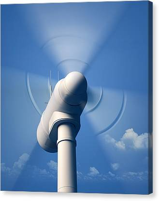 Wind Turbine Rotating Close-up Canvas Print by Johan Swanepoel