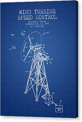 Wind Turbine Speed Control Patent From 1994 - Blueprint Canvas Print by Aged Pixel