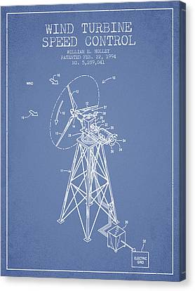 Wind Turbine Speed Control Patent From 1994 - Light Blue Canvas Print by Aged Pixel