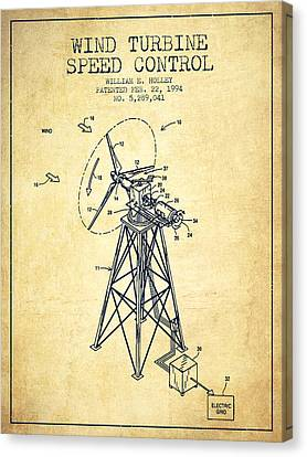 Wind Turbine Speed Control Patent From 1994 - Vintage Canvas Print by Aged Pixel