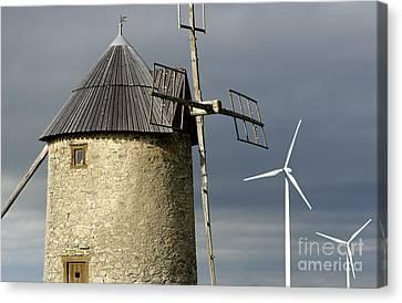 Wind Turbines And Windfarm Canvas Print by Bernard Jaubert
