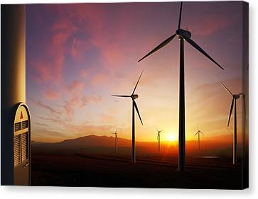 Wind Turbines At Sunset Canvas Print by Johan Swanepoel