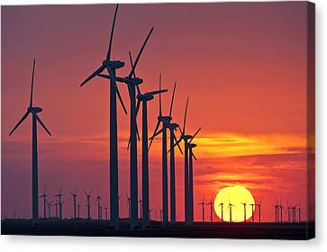 Wind Turbines At Sunset Canvas Print by Science Photo Library