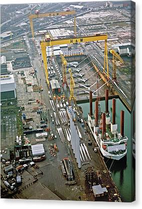 Wind Turbines Being Offloaded Canvas Print by Harland & Wolff Heavy Indust./us Department Of Energy
