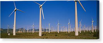Wind Turbines In A Field, Mojave Canvas Print by Panoramic Images