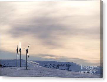 Wind Turbines In Winter Canvas Print by Bernard Jaubert