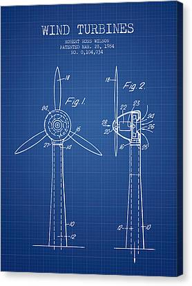 Wind Turbines Patent From 1984 - Blueprint Canvas Print by Aged Pixel