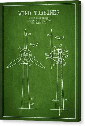 Wind Turbines Patent From 1984 - Green Canvas Print by Aged Pixel