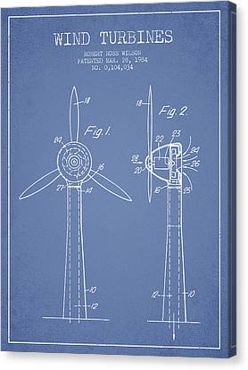 Wind Turbines Patent From 1984 - Light Blue Canvas Print by Aged Pixel